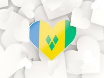 Flag of saint vincent and the grenadines, heart shaped stickers Royalty Free Stock Photos