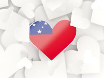 Flag of samoa, heart shaped stickers. Background. 3D illustration Royalty Free Stock Images