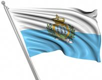 Flag of San Marino. This is a computer generated and 3d rendered image stock illustration