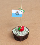 Flag of san marino on cupcake Royalty Free Stock Image