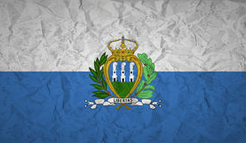 Flag of San Marino with the effect of crumpled paper and grunge. Flag  of San Marino with the effect of crumpled paper and grunge Royalty Free Stock Photos