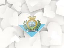Flag of san marino, heart shaped stickers Royalty Free Stock Photo