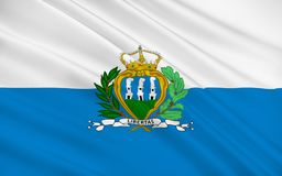 Flag of San Marino. Officially the Republic of San Marino also known as the Most Serene Republic of San Marino vector illustration