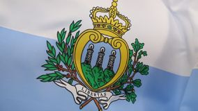 Flag of San Marino. The state and war flag of the Republic of San Marino stock footage