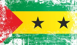 Flag of Sao Tome and Principe, Africa. Wrinkled dirty spots. Can be used for design, stickers, souvenirs royalty free illustration