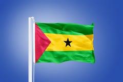 Flag of Sao Tome and Principe flying Stock Photography