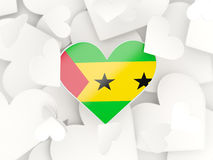 Flag of sao tome and principe, heart shaped stickers Stock Image