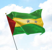 Flag of Sao Tome and Principe. Raised Up in The Sky Royalty Free Stock Image