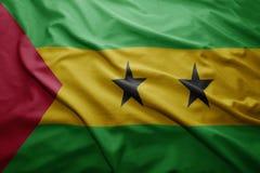 Flag of Sao Tome and Principe. Waving colorful national Sao Tome and Principe flag Stock Photography