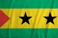 Flag of Sao Tome and Principe waving. Fabric texture of the flag of Sao Tome and Principe Royalty Free Stock Images