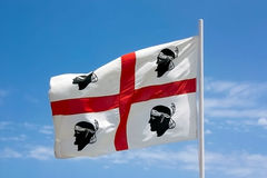 The flag of Sardinia - la bandiera sarda. Royalty Free Stock Images