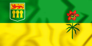 Flag of Saskatchewan Province, Canada. 3D Illustration. Royalty Free Stock Images