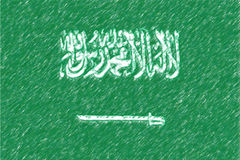 Flag of Saudi Arabia background o texture, color pencil effect. Royalty Free Stock Photography