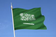 Flag of Saudi Arabia - Middle East. The flag of Saudi Arabia has been used by the government of Saudi Arabia since March 1973. It is a green flag featuring in Royalty Free Stock Images