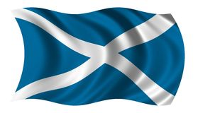Flag of Scotland. Waving in the wind Royalty Free Stock Image