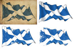 Flag of Scotland. Waving Scotch flag. 4 options for multiple uses 1) aged paper, 2) clean cut, 3) scratched surface and 4) under texture Royalty Free Stock Photos