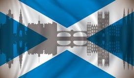 Flag of Scotland with Edinburgh skyline Royalty Free Stock Photo