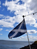 Flag of Scotland. At Inchcolm Island at Firth of Forth stock images