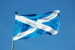 Flag of Scotland. Waving in the blue sky flag of Scotland stock image