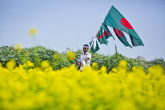 A flag sealer. Man waking through  mustered field and holding national flag to celebrate victory day Stock Photos