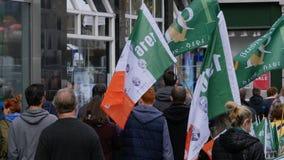 Flag seller during Centenary / 100th Anniversary of the Easter rising in Dublin stock photo