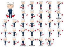Flag semaphore system Royalty Free Stock Image