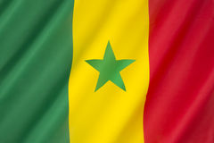Flag of Senegal. Adopted in 1960 to replace the flag of the Mali Federation. It has been the flag of the Republic of Senegal since the country gained Stock Photography