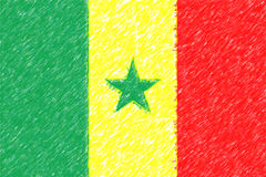 Flag of Senegal background o texture, color pencil effect. Stock Photography