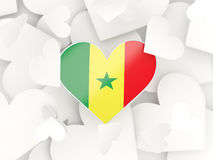 Flag of senegal, heart shaped stickers. Background. 3D illustration Royalty Free Stock Images