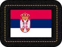 flag serbia Διανυσματικό εικονίδιο στο μαύρο σκηνικό δέρματος Ελεύθερη απεικόνιση δικαιώματος