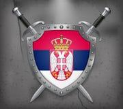 flag serbia Η ασπίδα με τη εθνική σημαία Δύο διασχισμένο ξίφος Απεικόνιση αποθεμάτων