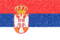 Flag of Serbia background o texture, color pencil effect. Royalty Free Stock Images