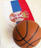 Flag of Serbia with basketball ball.2019. Flag of Serbia with basketball ball. Serbia is very famous in the world of basketball royalty free stock photos