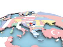 Flag of Serbia on bright globe. Serbia on political globe with embedded flags. 3D illustration Stock Photos
