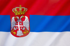 Flag of Serbia. The same tricolour, in altering variations, has been used since the 19th century as the flag of the state of Serbia and the Serbian nation Stock Photography