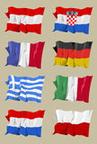 Flag series: European I. Computer generated illustration of the flag of eight European countries. Austria Croatia France Gemany Greece Italy Holland Poland Royalty Free Stock Images