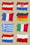 Flag series: European I. Computer generated illustration of the flag of eight European countries. Austria Croatia France Gemany Greece Italy Holland Poland stock illustration