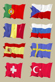 Flag series: European II. Computer generated illustration of the flag of eight European countries. Portugal Czech Republic Romania Russia Spain Sweden stock illustration