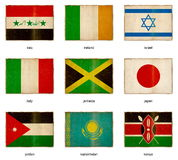 Flag set 10. Collection of grunge weathered flags. Nine pieces Stock Photo