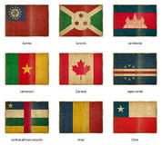 Flag set 4. Collection of grunge weathered flags. Nine pieces Stock Image