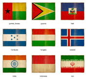 Flag set 9. Collection of grunge weathered flags. Nine pieces Stock Photos