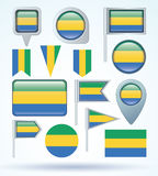 Flag set of Gabon, vector illustration Stock Photo