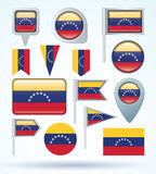 Flag set of Venezuela, vector illustration. Royalty Free Stock Image
