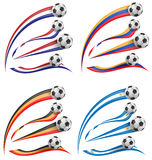 Flag set whit soccer ball Royalty Free Stock Images