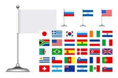 Flag set on white background Stock Photography