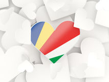 Flag of seychelles, heart shaped stickers Royalty Free Stock Image