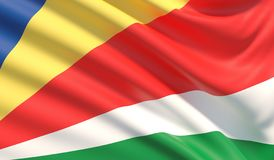 Flag of Seychelles. Waved highly detailed fabric texture. 3D illustration. royalty free illustration