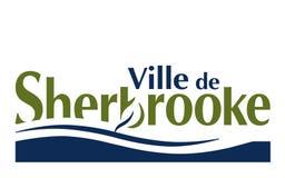 Flag of Ville de Sherbrooke Quebec, Canada. Flag of Sherbrooke is a city in southern Quebec, Canada stock photos