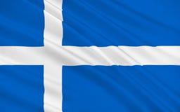 Flag of Shetland of Scotland, United Kingdom of Great Britain. Flag of Shetland also called the Shetland Islands, is a subarctic archipelago of Scotland that stock illustration