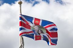 A flag showing Harry & Megan flies in Exmouth, Devon stock photo